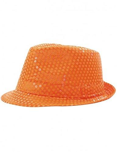 Party Pro 865090617, Chapeau borsalino sequin Néon, Orange