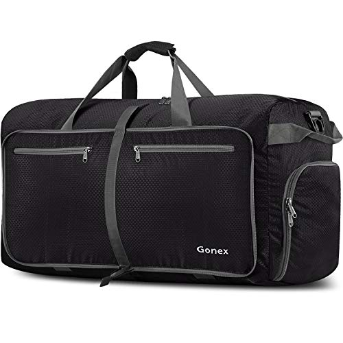 Gonex Bolsa de Viaje 150L, Plegable Ligero Bolso Equipaje Maleta Grande Bolsas Deportes Gimnasio Maletas de Mano Impermeable Duffel Travel Bag para Hombres y Mujeres Fin de Semana (Negro)