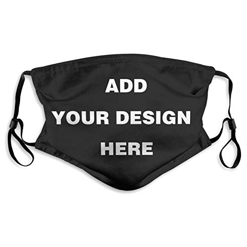 Custom Face Mask With Filter - Personalized Anti Dust Mouth Cover Add Your Image Text Reusable Neck Gaiter Bandana Washable Balaclava - For Adults, Kids (Medium)