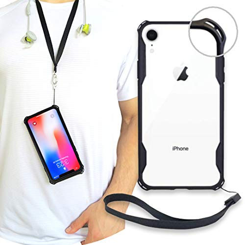 New iPhone XR Clear Slim Case with Wrist Strap & Lanyard   Best Rugged TPU Bumper Case   Strong Loop Hole Attachments for Leash, Tether Holder etc (Black, iPhone XR)