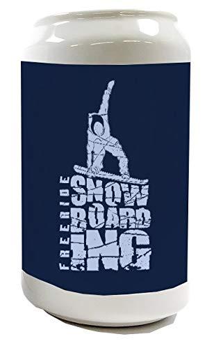Spardose Sparbüchse Geld-Dose Wiederverschließbar Farbe Weiß Sport Snowboarden Keramik Bedruckt