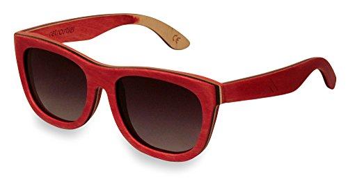 retrostiel Sonnenbrille aus Holz, Skateboard, Holzsonnenbrille (Rot)