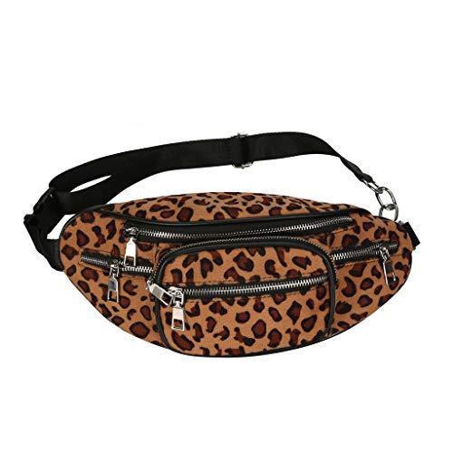 Longzjhd - Bolso bandolera unisex de piel con remaches de leopard, (c), Libre