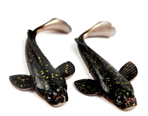 MiTho-Store 4 Stück Grundeln Gummifisch Angelköder 17Gramm 12 cm sehr realistisch, breiter Körperbau Hecht Zander Barsch Waller EIN MUSS für jeden Angler