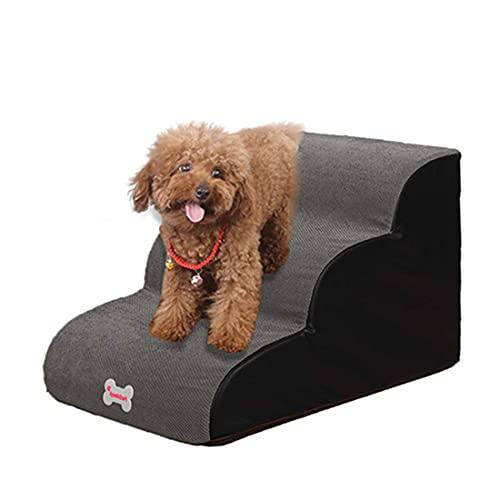 Weichuan Escalera para mascotas de 3 peldaños, escalera para perros y gatos, para sofá, cama, antideslizante, de esponja, para perros pequeños, cachorros, gatos, gris, L