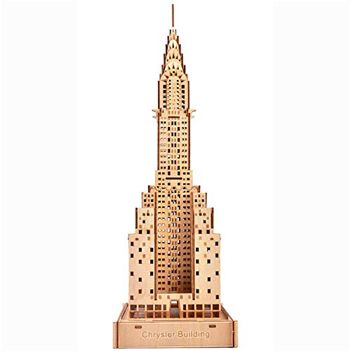 3D Wooden Puzzle Model Kits Chrysler Building Laser Cut DIY Wooden Puzzle for Self-Assembly Toy Gift for Kid and Adult 76pcs-17.8x15.8x49.5cm,0.85kg