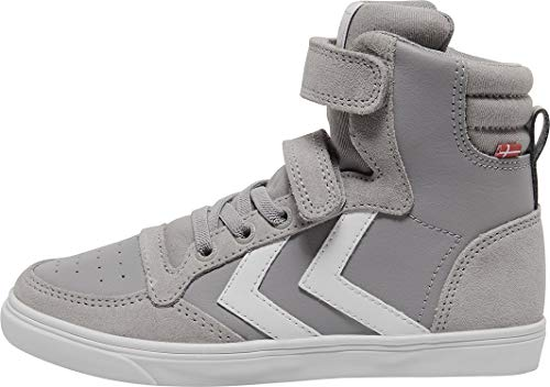 Hummel Unisex-Kinder Slimmer Stadil Leather High Jr Hohe Sneaker High-Top, Alloy, 39 EU