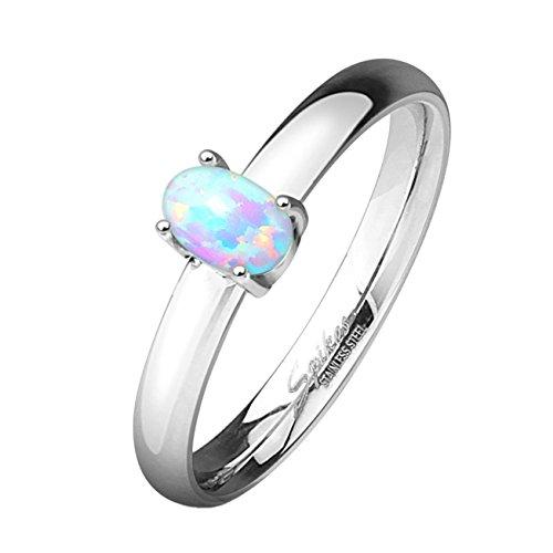 Paula & Fritz - Anello di fidanzamento in acciaio inossidabile 316L, anello classico con opale e acciaio inossidabile, 47 (15.0), colore: metallic, cod. R-M5055_50
