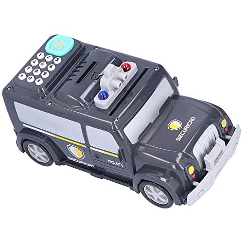 Banco De Vehículos Blindados, Iluminación Colorida Y Efectos De Sonido Banco De Dinero para Niños Protección con Contraseña Doble para El Dinero De La Tienda(Hucha Tipo batería Negra)