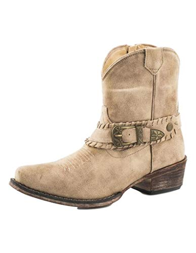 Roper Womens Vintage Beige Faux Leather Nelly Cowboy Boots 7