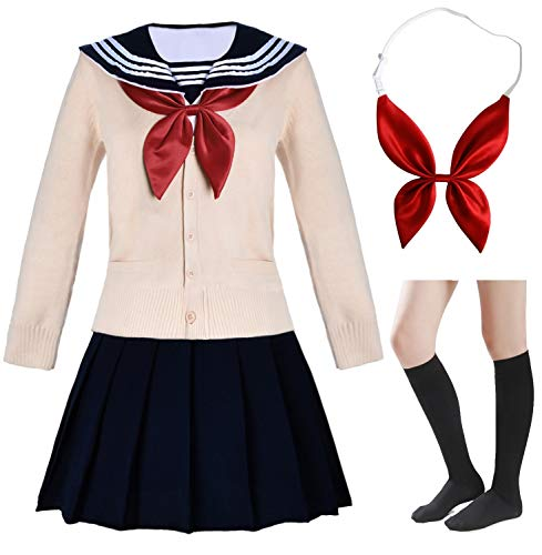 Elibelle Japanese School Girls Short Sleeve Uniform Sailor Navy Blue Pleated Skirt Anime Cosplay Costumes Sweater with Socks setXL(Tag 2XL)