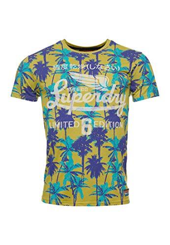 Superdry Hombre Camiseta Ligera con Estampado Integral Arenilla Palmera Amarilla Nu XS
