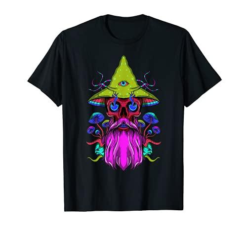 Hongo Mágico LSD Barba de ojos del cráneo Camiseta