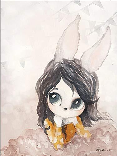 JHGJHK Cálido y Dulce decoración del hogar Conejo niña Pintura al óleo niña Dormitorio decoración Pintura (Imagen 7)