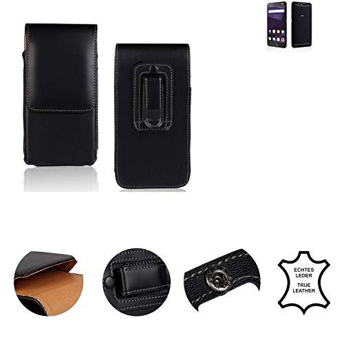 K-S-Trade® Holster Gürtel Tasche Für ZTE Blade V8 64 GB Handy Hülle Leder Schwarz, 1x