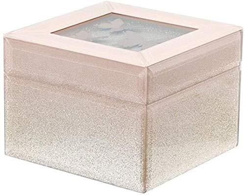 MWXFYWW Caja de joyería Cubierta Superior de Vidrio de Color Degradado Cofre de joyería Caja de Almacenamiento portátil de Doble Capa para Anillo Collar Pendientes Estuche de Viaje pequeño