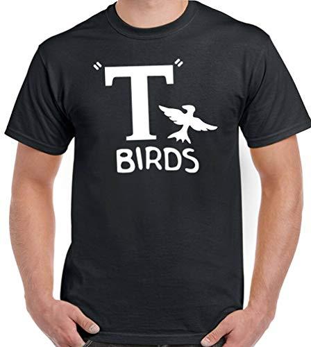 kanyeah T-Birds T-Shirt für Herren, lustiges Grease Stag Do Doo, Retro-Kostüm, Hot Rod Gr. L, Schwarz