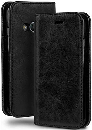 MoEx Booklet in Lederoptik - Kartenfächer und Aufstellfunktion passgenau für Samsung Galaxy Xcover 3 | Eleganter 360 Grad Vollschutz, Schwarz