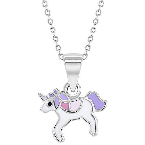Collar con colgante de unicornio para niñas de plata de ley 925 con esmalte morado de 40,64 cm