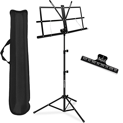 Music Stand, Kasonic Professional Collapsible Orchestra Portable and Light weight with Music Sheet Clip Holder & Carrying Bag Suitable for...