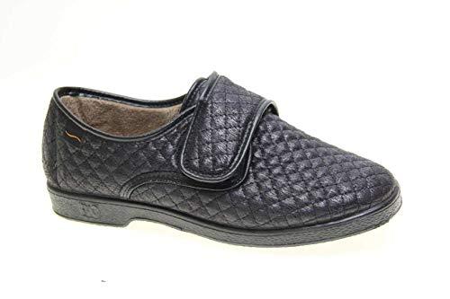 Zapatilla Velcro Mujer Tipo Zapato Doctor Cutillas en Negro Talla 42