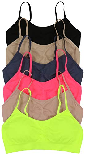 ToBeInStyle Womens Pack of 6 Simple Seamless Scoop Back Padded Bras (One Size, Neon)