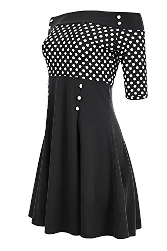 Laeticia Dreams Damen Petticoat-Kleid im Matrosen-Look S M L XL XXL, Größe:40, Farbe:Schwarz/Weiß Punkte Klein