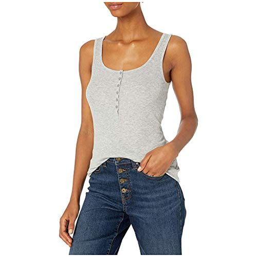 Find Bargain Women Tank Tops - Scoop Neck Tank Tops Solid Color Button Up Tops Slim Fit Tank Tops fo...