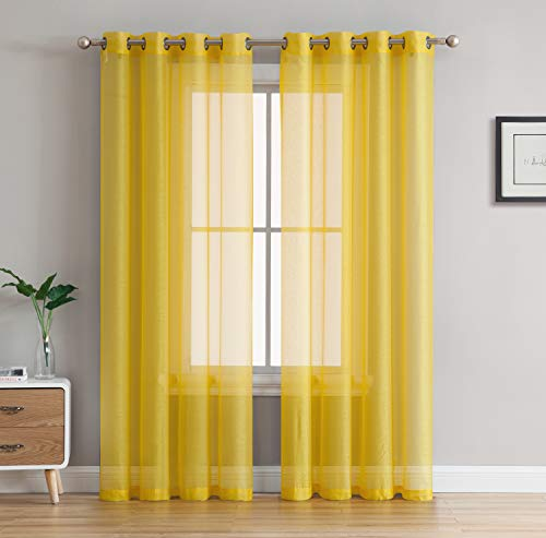 """HLC.ME 2 Piece Sheer Voile Window Curtain Grommet Panels for Bedroom & Living Room (54"""" W x 84"""" L, Bright Yellow)"""