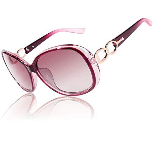 CGID Retro Großer Rahmen Designer Oversized Damen Sonnenbrille für Frauen Polarisiert Sonnen Brille UV Sonnenbrille Brille mit Strasssteinen Farbverlauf Rot Gläser MJ85
