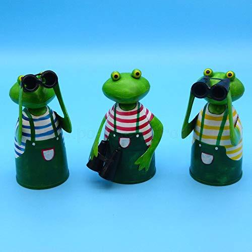 Pommerntraum ®   3-ER Set Zaunfiguren Zaunhocker Pfostenhocker Dekofiguren Frosch Frösche SPANNERFRÖSCHE