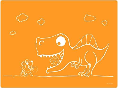 Dinomio Tischunterlage für Kinder Maus und Dino orange - rutschfest, 40 x 30 cm
