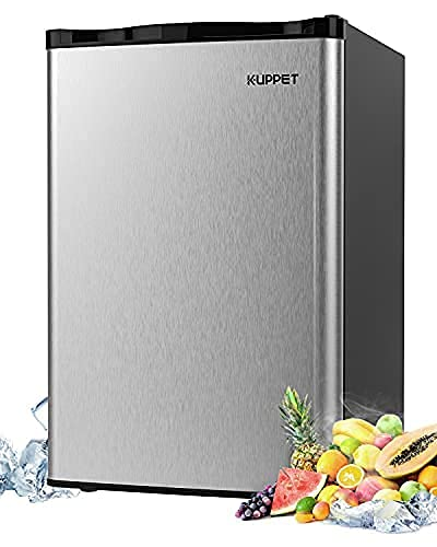 Single Door Mini stainless steel Fridge, 4.5 Cu.Ft Compact Refrigerator Mini Refrigerator-Small Drink Food Storage Machine for Dorm, Garage, Camper, Basement or Office