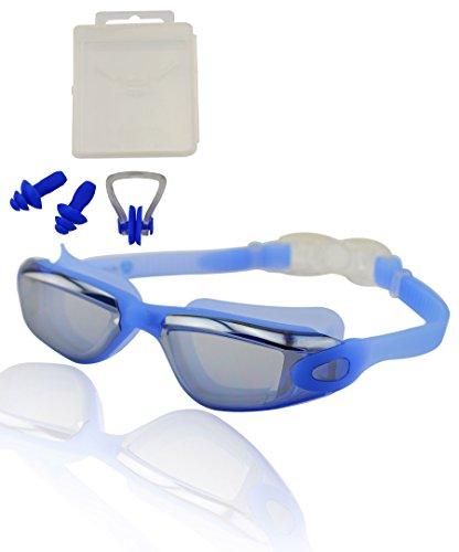#DoYourSwimming »Orca« Schwimmbrille + Ohrstöpsel + Nasenstöpsel/ 100% UV-Schutz + Antibeschlag Silikon + stabile Box/AF-1600m/ blau