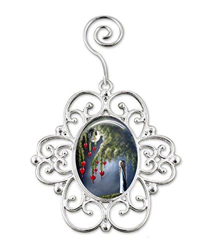 Gothic Girl Full Moon Bleeding Hearts Christmas Ornament with Artwork by Shawna Erback