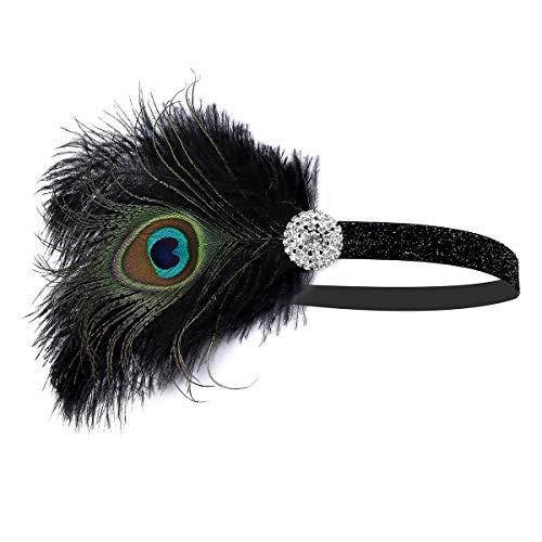 BOER 1920s Stirnband - Damen Haarreif Gatsby Kostüm Accessoires Retro 20er Jahre Flapper Feder Haarband Kopfschmuck (Grün B)