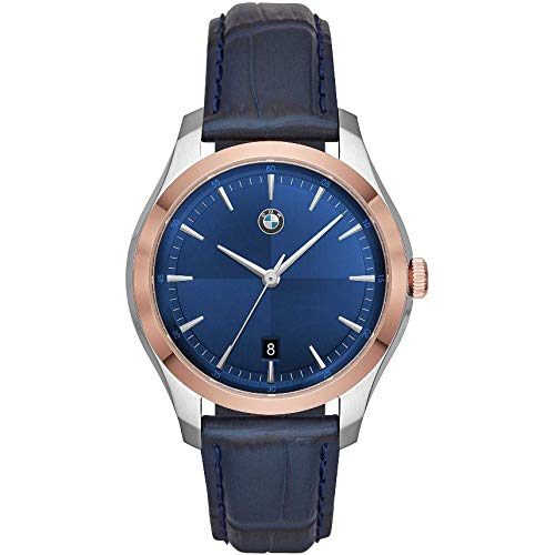 BMW Herren-Uhren Analog Quarz One Size Blau Leder 32012133