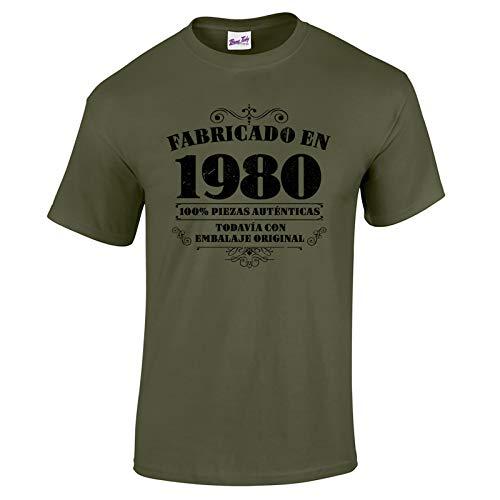 Bang Tidy Clothing Camiseta de Hombre para Regalo de 40 cumpleaños Manufactured 1980 en Verde Militar Talla M