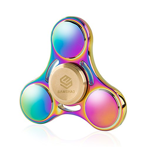 SAMSHAO Fidget Spinners Aeroship Rainbow Tri-Spinner Copper (Rainbow)