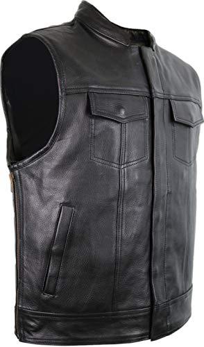 MDM Lederweste in Jeans Optik mit seitlichen Reißverschluss