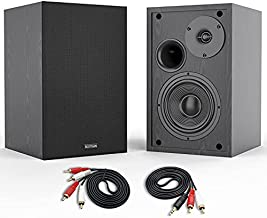 Bookshelf Speakers, BESTISAN 4 Inch Powered Bookshelf Speakers with Deep Bass, Bluetooth 5.0 Studio Monitor Speakers, 2.0 Neared Field Audio Speakers with 2 RCA Line Input, Set of 2 Black-New Model