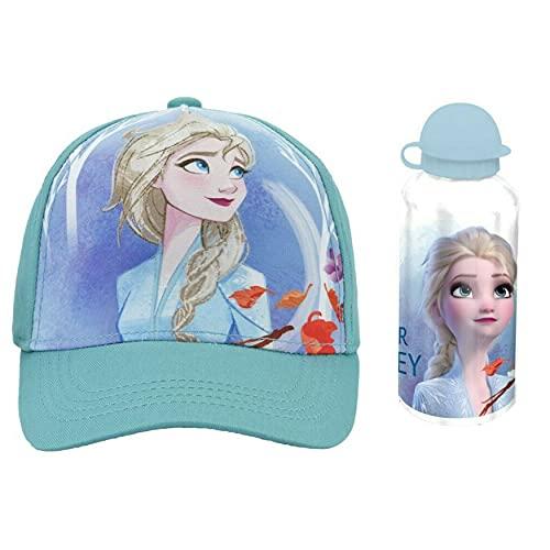 SRV Hub - Set di 2 cappucci da baseball Elsa e bottiglia d'acqua in alluminio da 500 ml, durevoli e riutilizzabili, regalo sportivo e scolastico per bambine di 3 anni