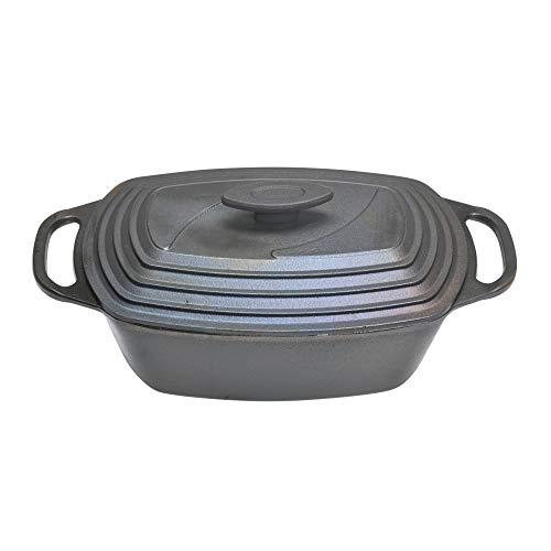 acerto 20157 ovale kookpot van gietijzer met deksel, geschikt voor inductie, 43 x 22 cm - Premium Gourmet braadpan voor alle soorten fornuizen