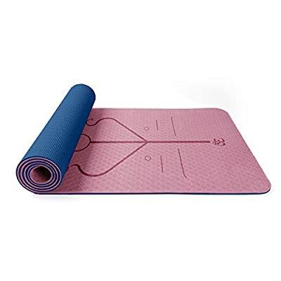 TOMAT Non Slip Yoga Mat with Alignment Lines,Double-Sided Two-Color Yoga Mat Eco Friendly TPE Exercise Mat Pilates Mat for Yoga, Pilates, Gym and Floor Exercise