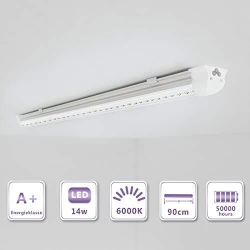 Preisvergleich Produktbild OUBO 90cm LED Leuchtstoffröhre komplett Set mit Fassung kaltweiss 6000K 14W 1850lm Lichtleiste T8 Tube mit klarer Deck
