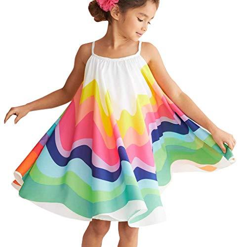 Vestido de niña, Riou Vestido para Bebés Ropa Vestidos de Falda sin Mangas con Arco Iris Vestidos Primavera Falda Princesa