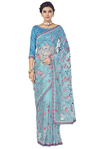 CLOTHAM Women's Net Saree with Embroidery Work (Luxury132_Firozi)