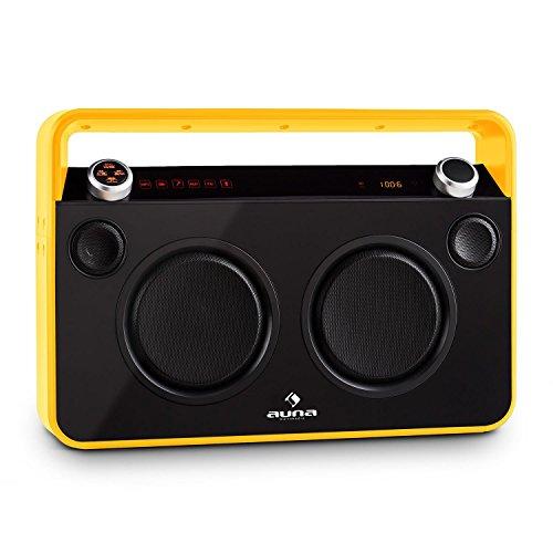 auna - Bebop, Boombox, Ghettoblaster, Bluetooth, kabelloses Musik-Streaming, UKW-Radio, MP3-fähiger USB-Port, AUX, 2-Wege-Lautsprecher, 2 Mikrofon-Eingänge, Karaoke, Akku, schwarz-gelb