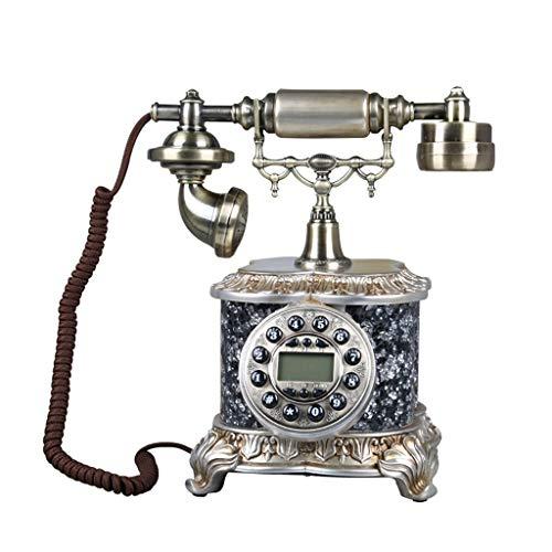 Sywlwxkq Suministro de teléfono con Cable Teléfono Retro Bronce Europeo Creativo Teléfono Fijo Vintage con Cable Teléfono inalámbrico de Oficina en casa (Color: Gris Plateado)