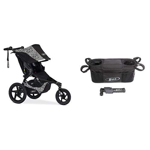 BOB Revolution Flex 2.0 Jogging Stroller; Lunar and Console with Tire Pump for Single Jogging Strollers